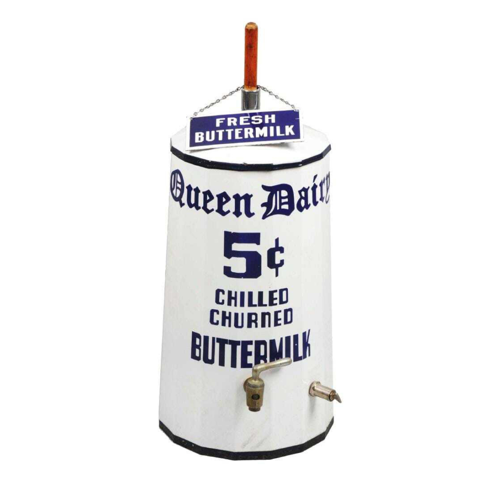 A Queen Dairy porcelain Buttermilk churn dispenser brought $6,000 plus the buyer's premium in September 2017 at Dan Morphy Auctions. Image courtesy of Dan Morphy Auctions and LiveAuctioneers.