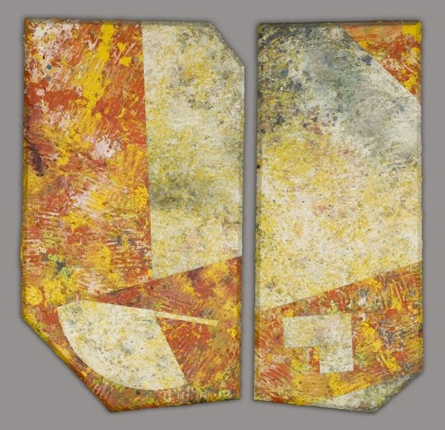 'Open Cylinder,' a Sam Gilliam diptych from 1979, made $19,000 plus the buyer's premium in December 2015 at Quinn's Auction Galleries. Image courtesy of Quinn's Auction Galleries and LiveAuctioneers